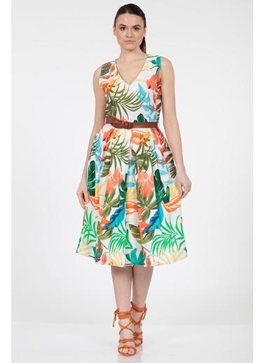 Vitrin Renkli Yaprak Desenli Belde Kemer Detaylı Elbise Renkli